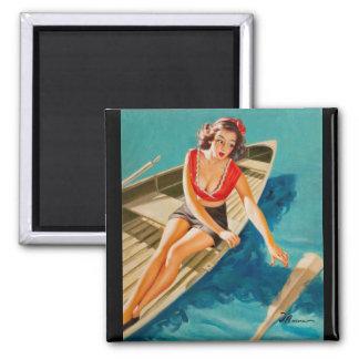 Row Boat Pin Up Art Magnet