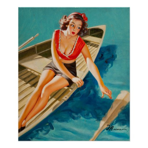 row boat pin up art poster zazzle. Black Bedroom Furniture Sets. Home Design Ideas
