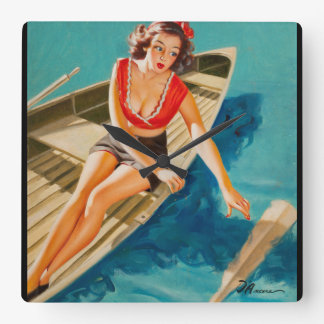 Row Boat Pin Up Art Square Wall Clock