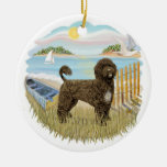 Row Boat - Portuguese Water Dog (brown) Double-Sided Ceramic Round Christmas Ornament