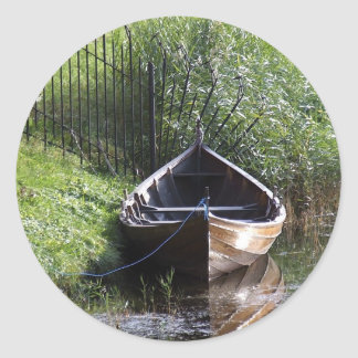 ROW BOAT RIVER NATURE GRASSES COUNTRY SCENERY CLASSIC ROUND STICKER