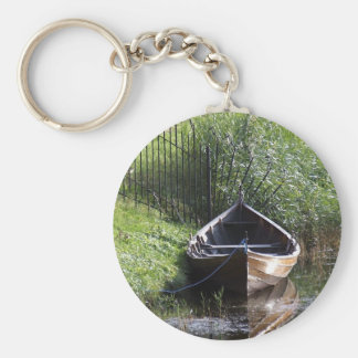 ROW BOAT RIVER NATURE GRASSES COUNTRY SCENERY KEYCHAIN