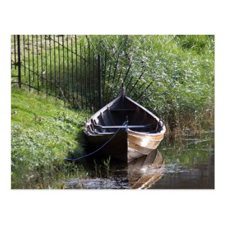 ROW BOAT RIVER NATURE GRASSES COUNTRY SCENERY POSTCARD