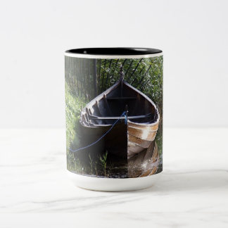 ROW BOAT RIVER NATURE GRASSES COUNTRY SCENERY Two-Tone COFFEE MUG