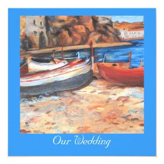 Row boats on shore card