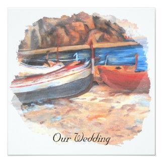 "Row boats on shore 5.25"" square invitation card"