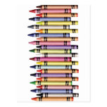 ROW COLORFUL CRAYONS GRAPHIC BACKGROUNDS COLORING POST CARDS