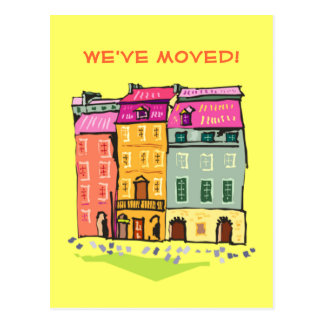 Row House We've Moved Change of Address New Home Postcard
