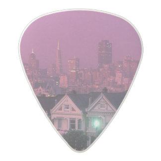 Row houses at sunset in San Francisco, Acetal Guitar Pick