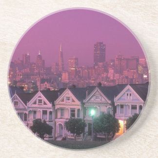 Row houses at sunset in San Francisco, Drink Coaster
