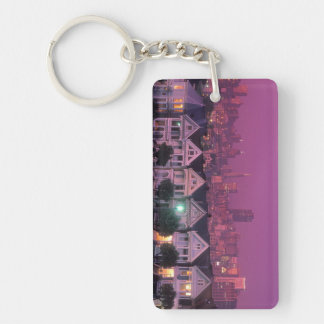 Row houses at sunset in San Francisco, Double-Sided Rectangular Acrylic Keychain