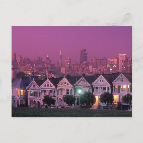Row houses at sunset in San Francisco Postcard