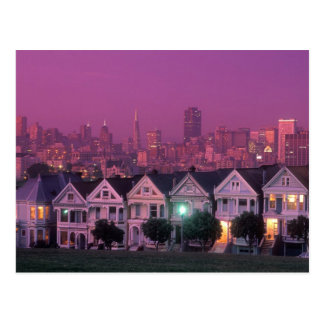 Row houses at sunset in San Francisco, Postcard