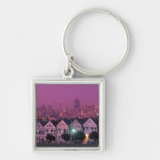 Row houses at sunset in San Francisco, Silver-Colored Square Keychain