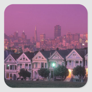 Row houses at sunset in San Francisco, Square Sticker