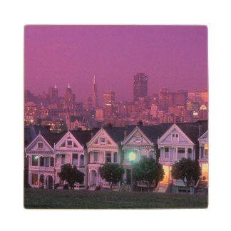 Row houses at sunset in San Francisco, Wooden Coaster