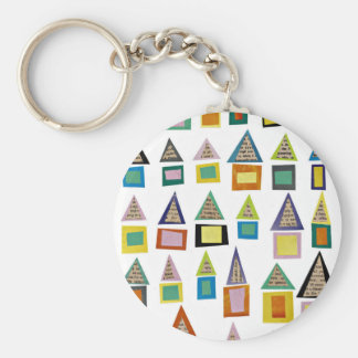 Row Houses Basic Round Button Keychain