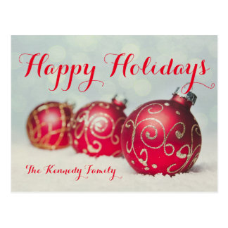 Row of 3 red Christmas baubles Postcard