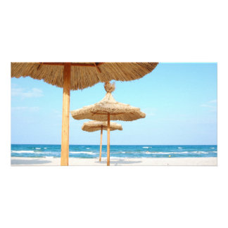 Row-of-beach-umbrellas BEACH GRASS UMBRELLAS OCEAN Card