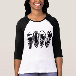 Row of Black and White Shoes Ladies Raglan T-Shirt