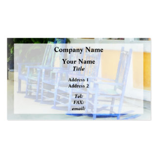 Row of Blue Rocking Chairs Double-Sided Standard Business Cards (Pack Of 100)