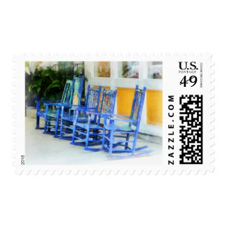 Row of Blue Rocking Chairs Stamp