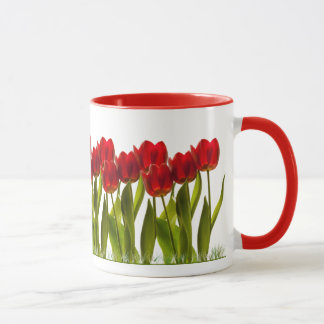 Row of Bright Red Spring Tulips Girly Mug