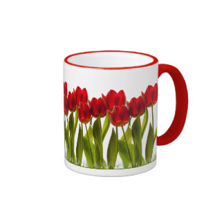 Row of Bright Red Spring Tulips Girly Ringer Mug
