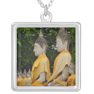 Row of Buddha statues, Wat Yai Chaya Mongkol Silver Plated Necklace