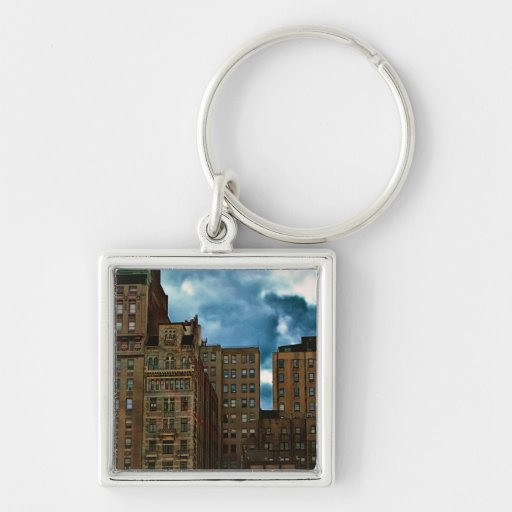 Row of Buildings in New York City Silver-Colored Square Keychain