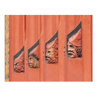 Row of ceramic heads along Basel's 16th Century Postcard