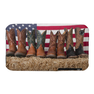 Row of cowboy boots on haystack iPhone 3 case