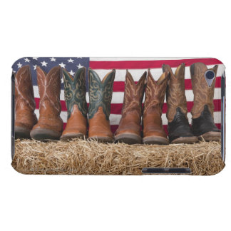 Row of cowboy boots on haystack barely there iPod cover