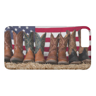 Row of cowboy boots on haystack iPhone 8 plus/7 plus case