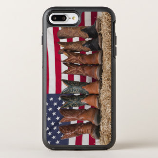 Row of cowboy boots on haystack OtterBox symmetry iPhone 8 plus/7 plus case