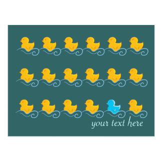 row of cute ducks card postcard