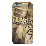 Row of dominoes on old world map 2 iPhone 6 case