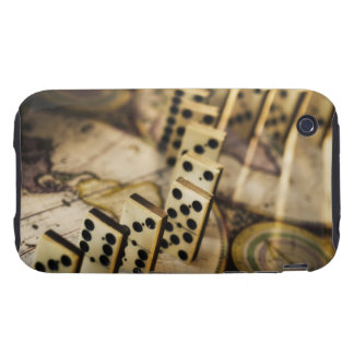 Row of dominoes on old world map 2 tough iPhone 3 case