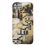 Row of dominoes on old world map iPhone 6 case