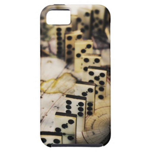 Row of dominoes on old world map iPhone SE/5/5s case