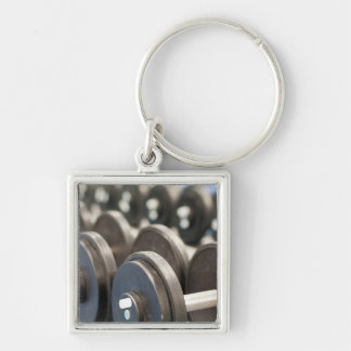 Row of Dumbbells Closeup Silver-Colored Square Keychain