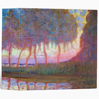 Row of Eleven Poplars in Red, Yellow, Blue 3 Ring Binder