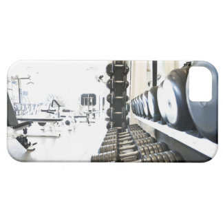 Row of free weights in foreground and exercise iPhone SE/5/5s case
