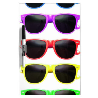 Row of funky coloured glasses dry erase board