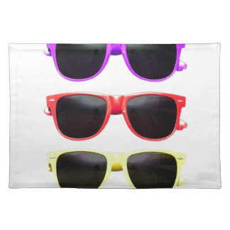 Row of funky coloured glasses placemats