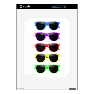 Row of funky coloured glasses iPad 2 decal