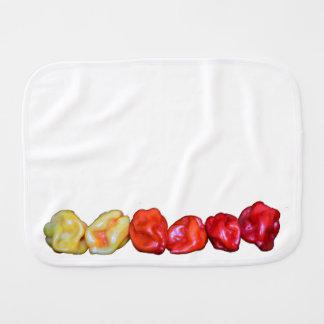 row of habanero hot pepper baby burp cloth
