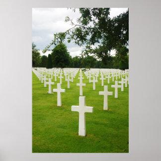Row of Headstones Arlington National Cemetery Poster