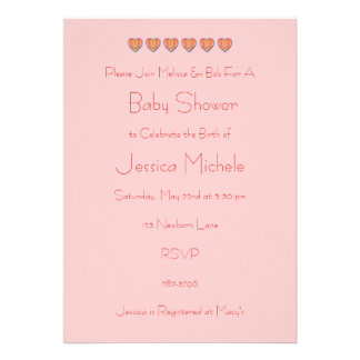 Row of Hearts Baby Shower Invitation, Pink