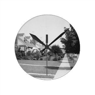 Row of Houses Round Clock